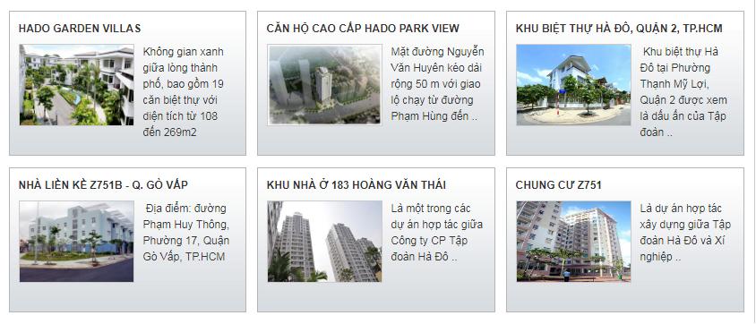Các dự án bất động sản tiêu biểu của tập đoàn Hà Đô.